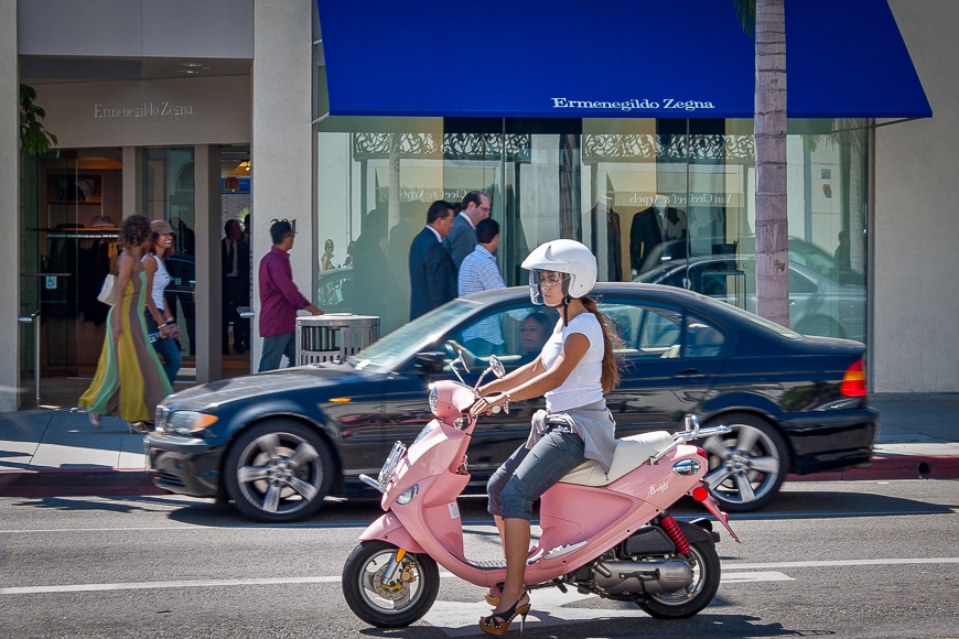 Transportation on Rodeo Drive - Gal on Pink Mobed Scooter and High Heels