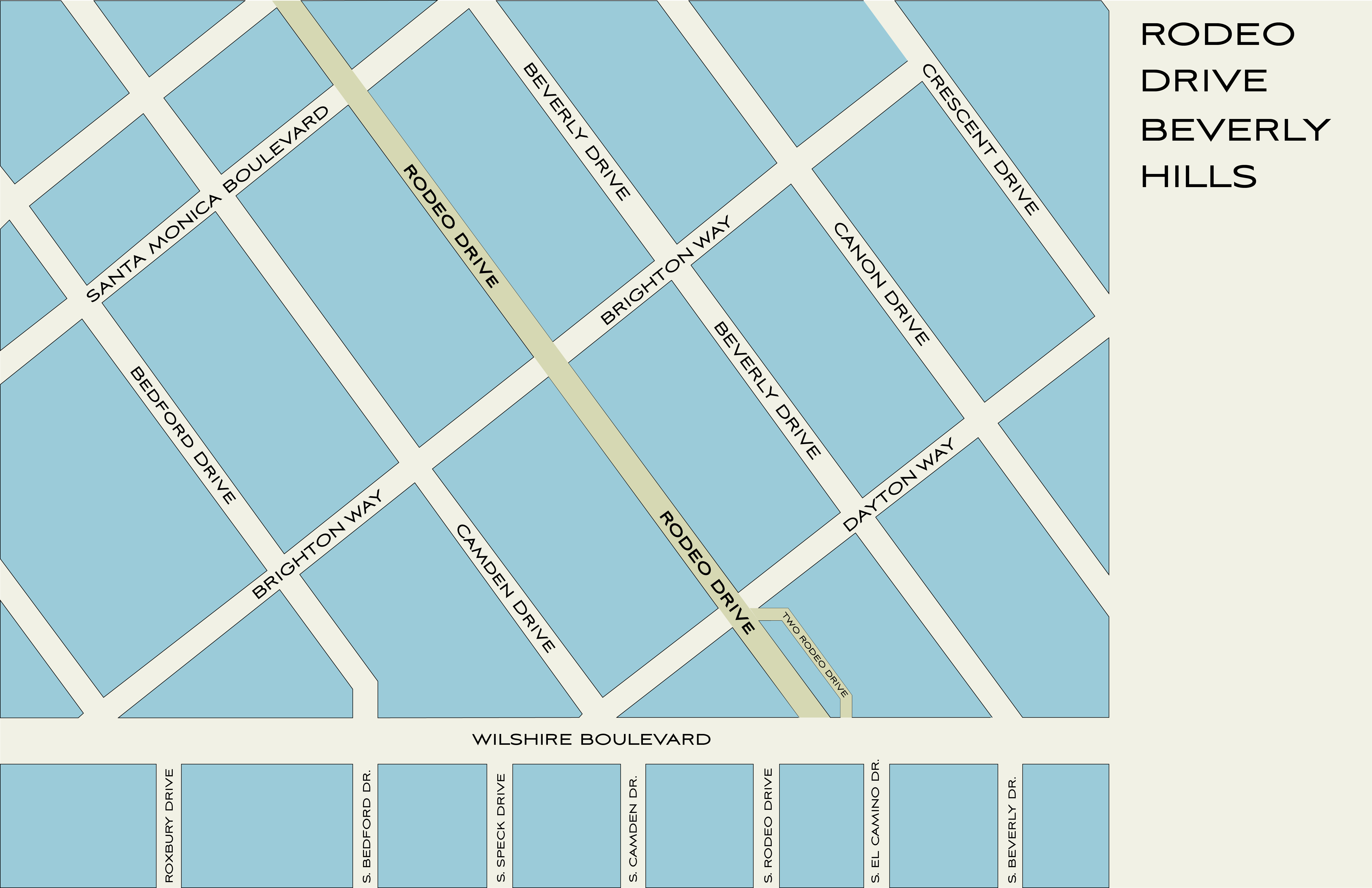 Rodeo Drive Map MAP | Rodeo Drive Shopping, Dining & Travel Guide
